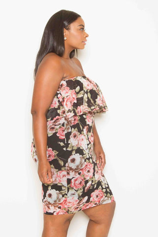 Plus Size Floral Ruffle Dress