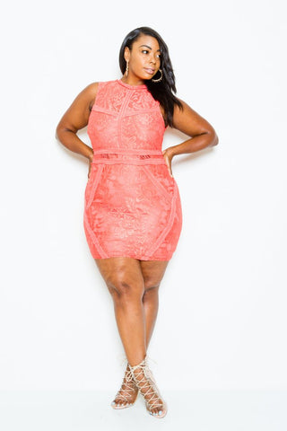 Plus Size Sexy Lace Mini Dress