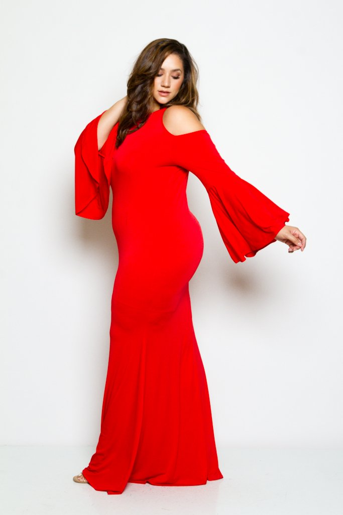 Plus Size Showstopper Bell Sleeve Mermaid Maxi Dress ...