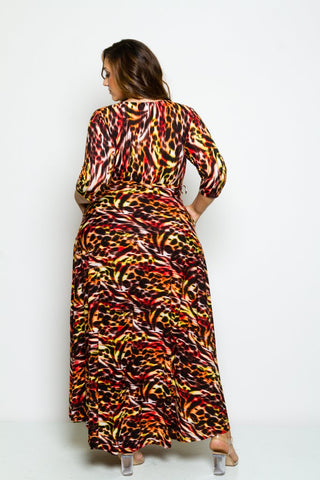 Plus Size 3/4 Length Sleeve Maxi Dress