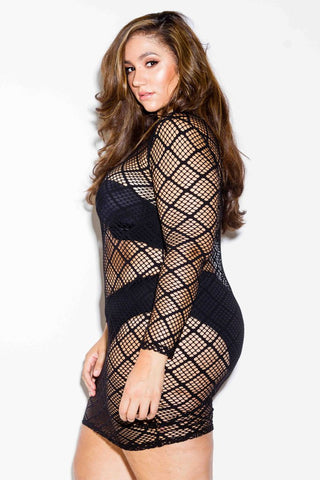 Plus Size Diamond Fishnet Bodycon Dress