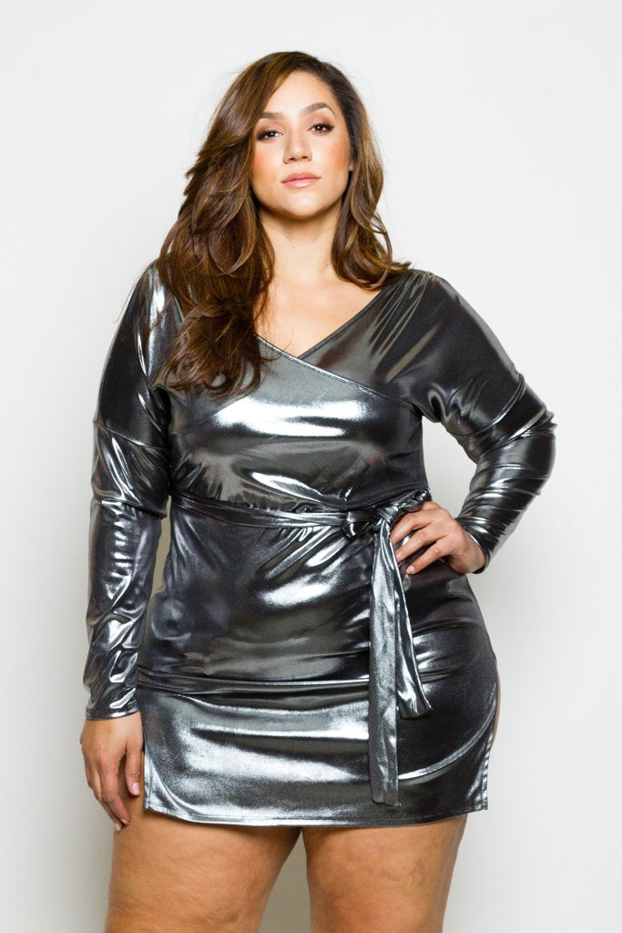 Plus Size Shining Metallic Surplice Wrap dress