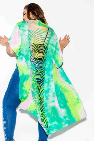 Plus Size Tie Dye Cardigan with Razor Cut