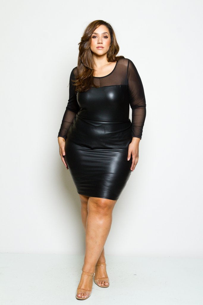 45f20b1231149 Plus Size Sleek Faux Leather Mesh Dress – Plussizefix