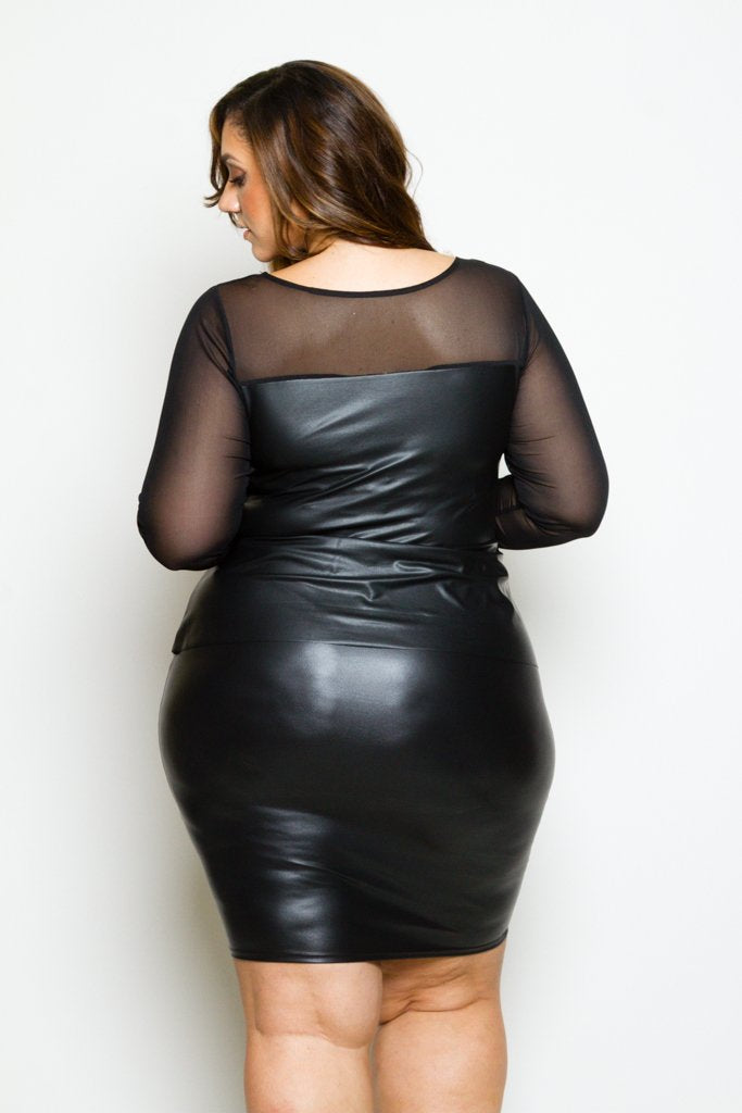 Plus Size Sleek Faux Leather Mesh Dress