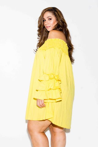 Plus Size Off Shoulder Smock Dress
