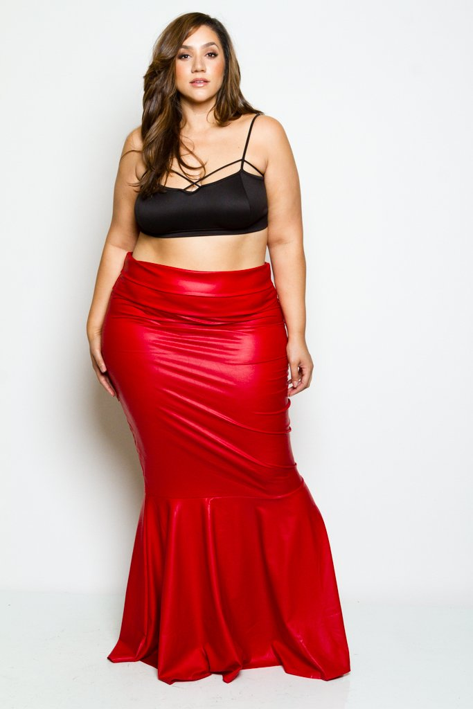 5512b324c Plus Size Faux Leather Showstopper Mermaid Maxi Skirt