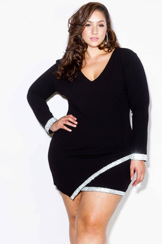 Plus Size Embellished Wrap Mini Dress