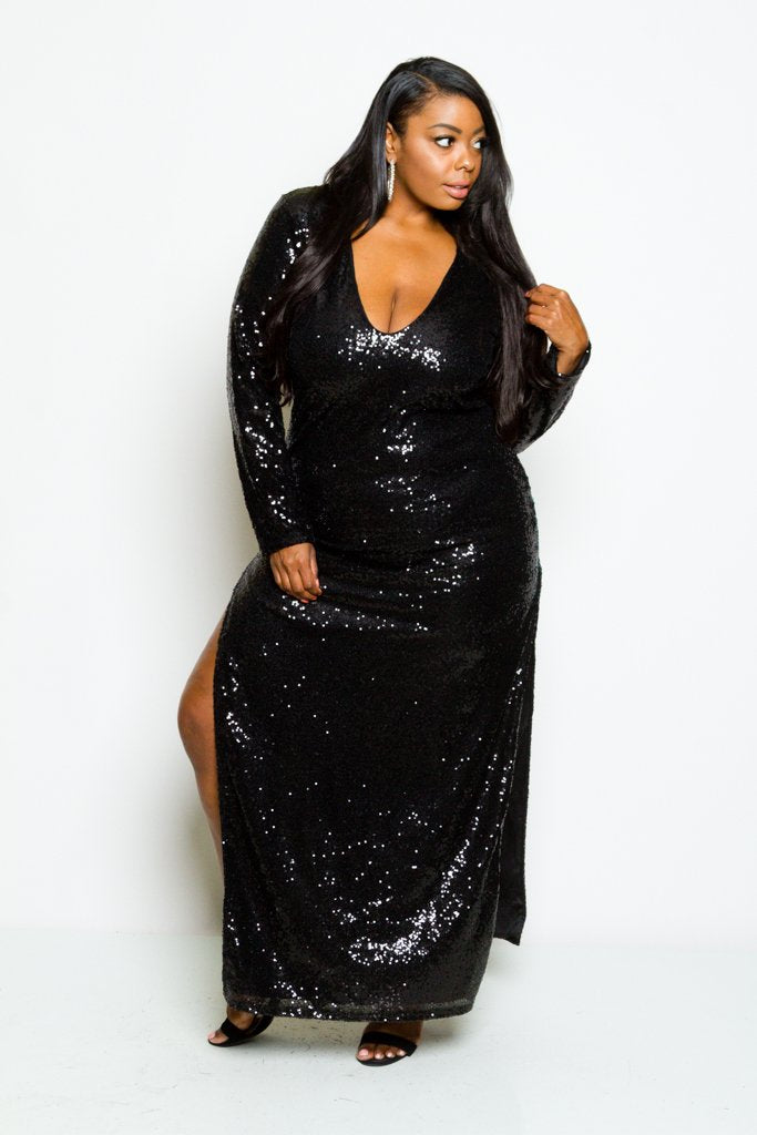 Plus Size Long Sleeve Full Sparkling Sequin Maxi Dress ...