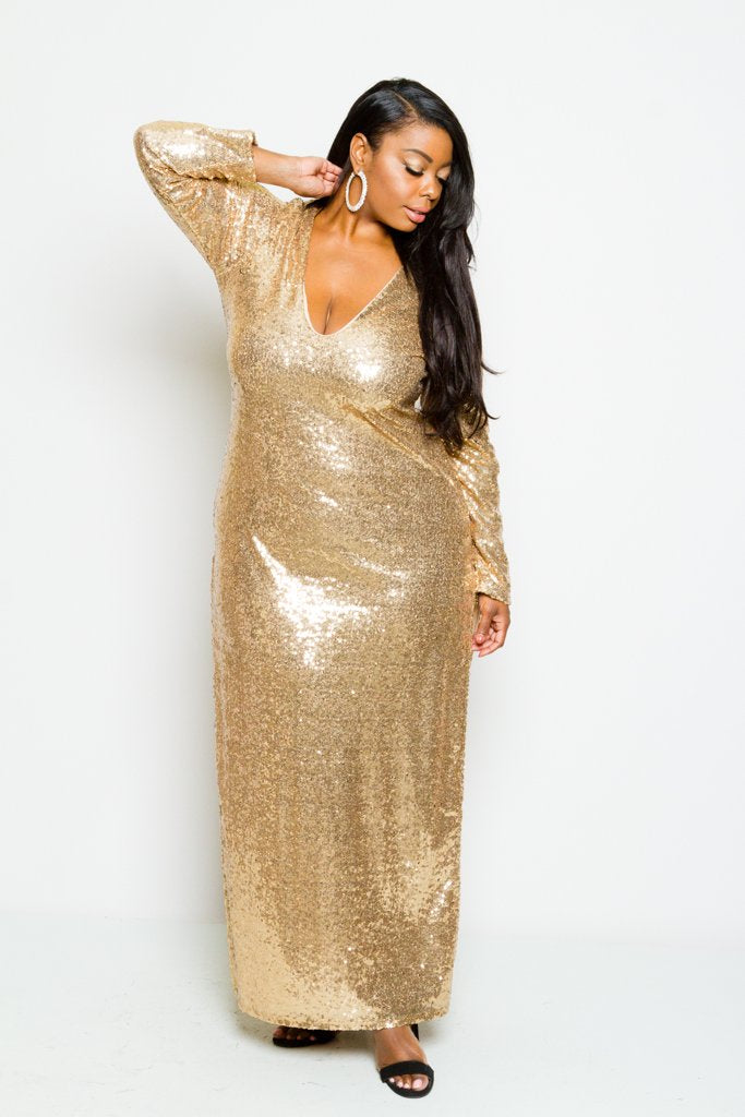 Plus Size Long Sleeve Full Sparkling Sequin Maxi Dress Plussizefix