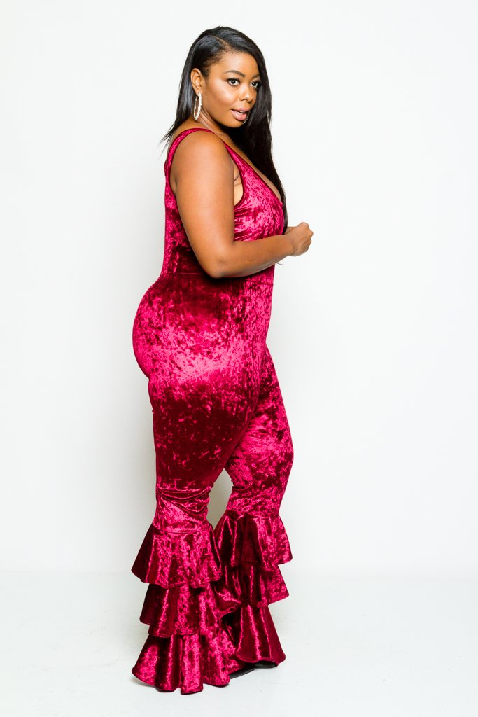 Plus Size Crushed Soft Velvet Glam Ruffle Bottom Jumpsuit [SALE]