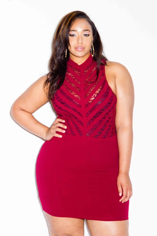 Plus Size Mini Dress with Lace Bib