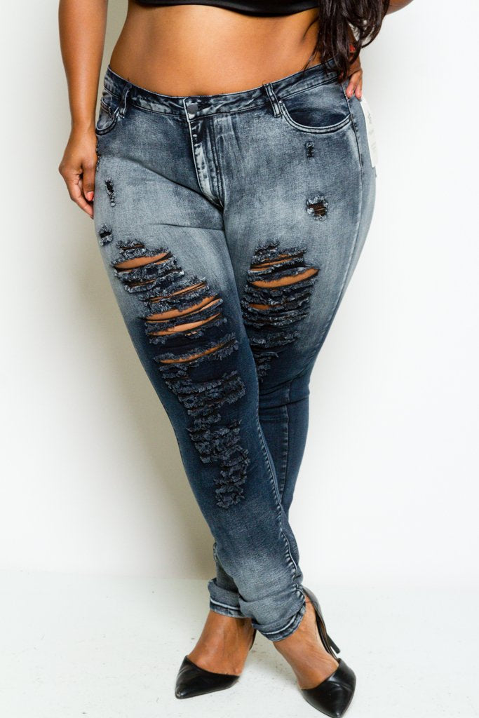 Plus Size Trendy Distressed Acid Washed Jeans