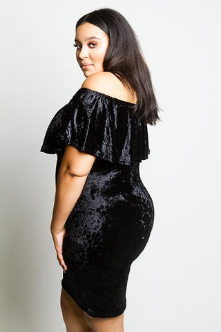 Plus Size Off Shoulder Velvet Dress