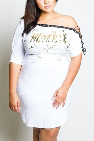 Plus Size Be Humble Lace Up Dress