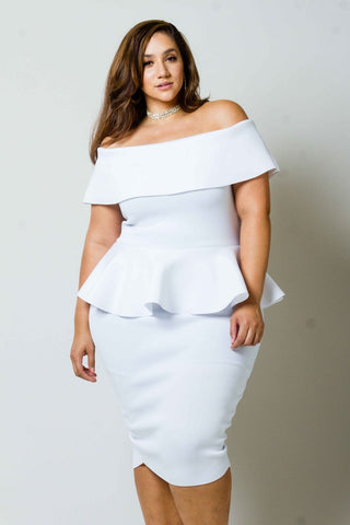 Plus Size Peplum Off Shoulder Dress