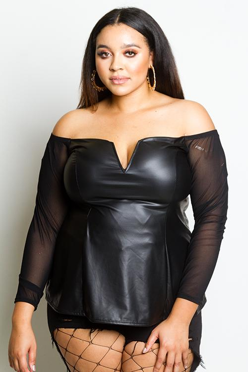 0aaabf3076b3cb Plus Size Leather Effect Blouse with See Through Mesh Insert Top –  Plussizefix