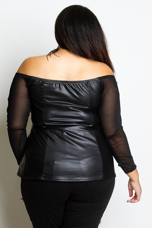 dd1278897b1 Plus Size Leather Effect Blouse with See Through Mesh Insert Top ...