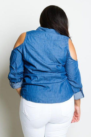 Plus Size Cold Shoulder Denim Shirt Top