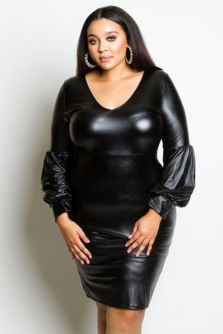 Plus Size Puffed Sleeve Leather Effect Dress