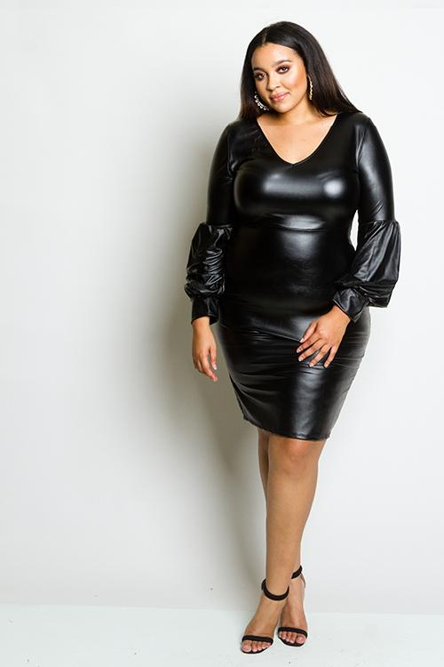 Plus Size Puffed Sleeve Leather Effect Dress – Plussizefix