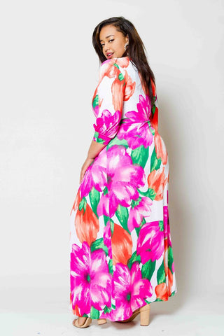 Plus Size Floral Maxi Dress with Bodysuit Insert