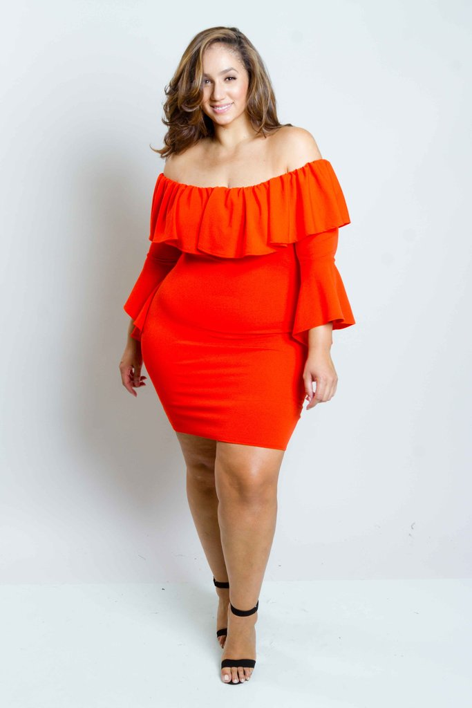 42055691f06 Plus Size Sexy Off Shoulder Dress with Bell Sleeves – Plussizefix