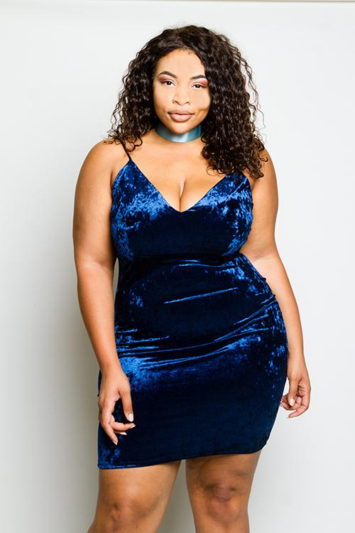 Plus Size Soft Soft Velvet Mini Dress