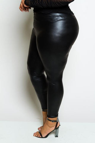 Plus Size Leather Effect Leggings