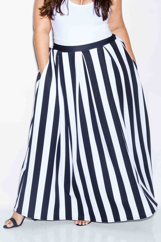 Plus Size Stripe Scuba Maxi Skirt
