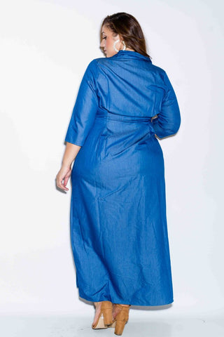 Plus Size Maxi Chambray Shirt Dress
