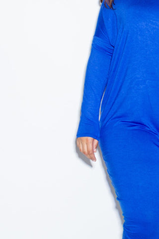 Plus Size Off Shoulder Long Sleeved Jersey Maxi Harem Dress