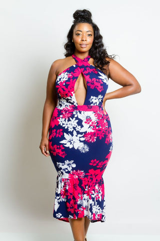 Plus Size Sexy Gorgeous Floral Showstopper Mermaid Cross Straps Dress