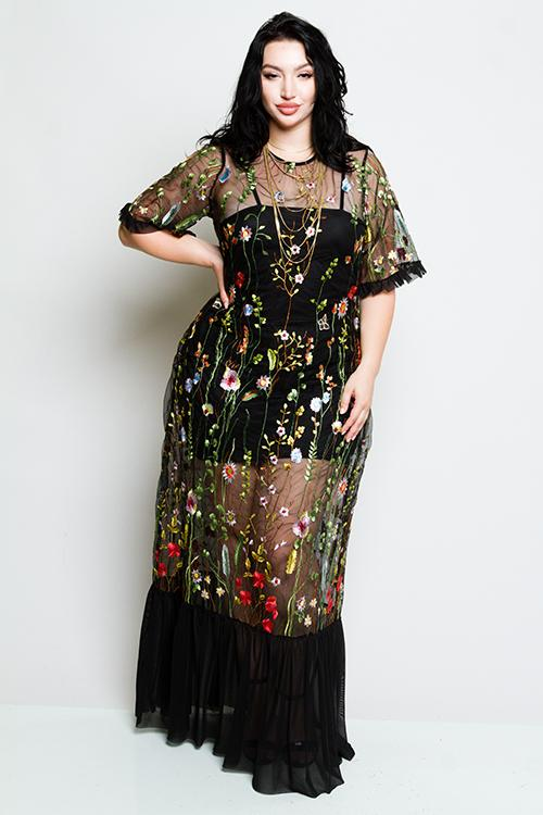 Plus Size See Through Mesh Dress with Gorgeous Floral Embroidery –  Plussizefix df2b48e56