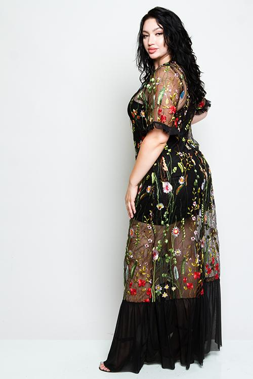 Plus Size See Through Mesh Dress With Gorgeous Floral Embroidery