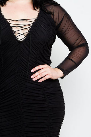 Plus Size Lace up Mesh Detailed Dress