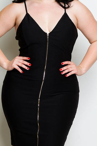 Plus Size Zip Up Mini Dress
