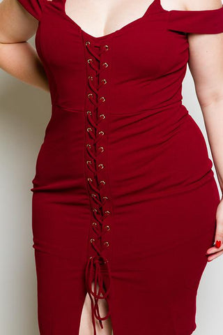 Plus Size Cold Shoulder Lace Up Dress