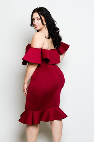 Plus Size Off Shoulders Goddess Ruffled Dress