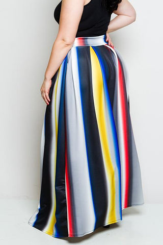 Plus Size Colorful Maxi Skirt