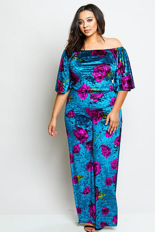 Plus Size Soft Velvet Gorgeous Floral Matching Set