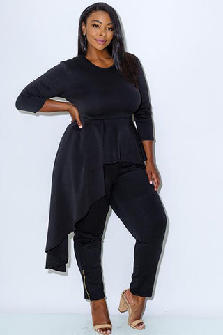 Plus Size Cascade Peplum Glam Ruffle Top [SALE]