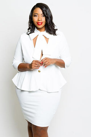 Plus Size Chic Blazer Bow Tie Matching Set