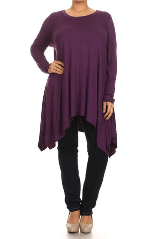Plus Size Solid Long Sleeve Relaxed Fit Round Neck Tunic - Purple