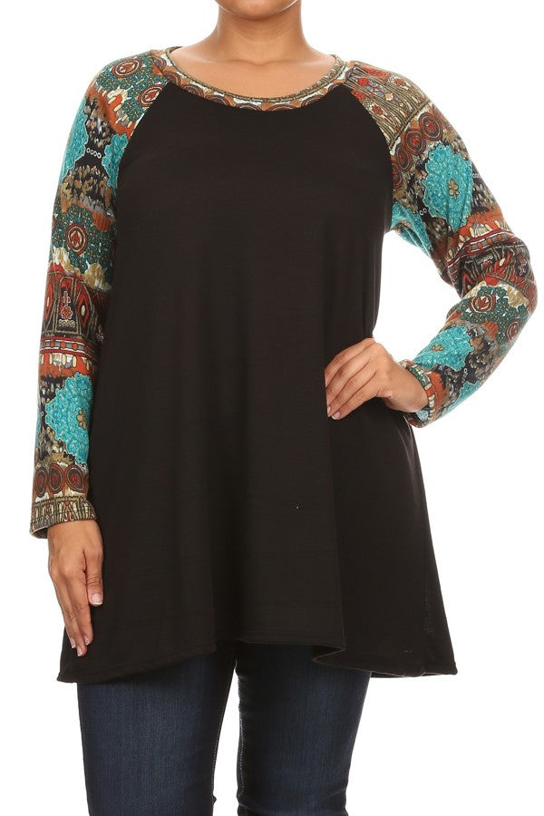 Plus Size Waist Length Long Sleeve Top With Crew Neck -Jade