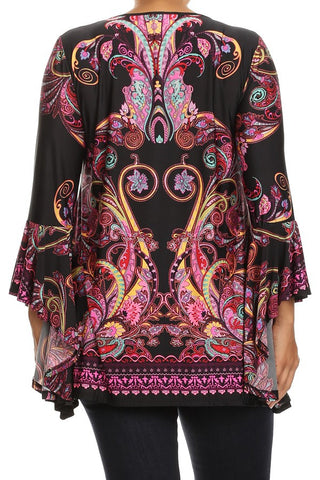 Plus Size Abstract Waist Length Asymmetric Hem Kimono Sleeves - Black