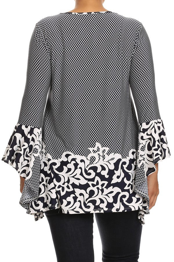 Plus Size Abstract Print Waist Length Long Sleeve Top - Navy