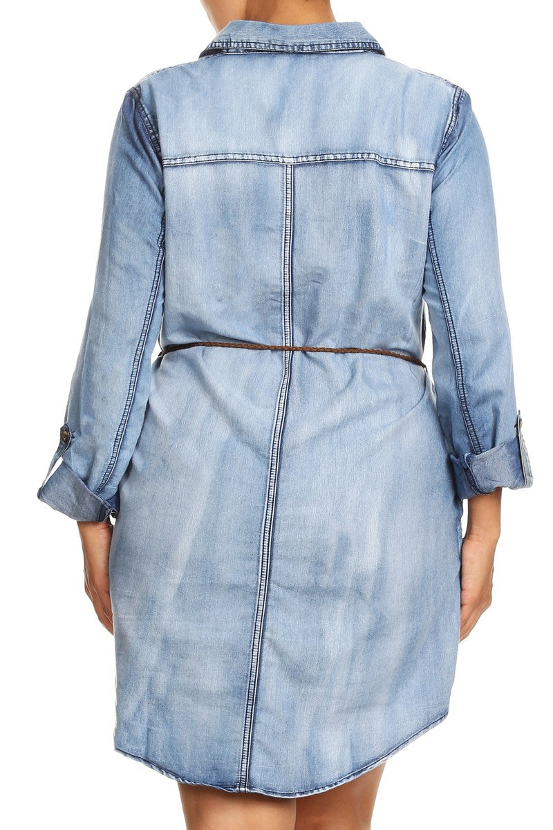 Jean Bae Plus Size Denim Shirt Dress