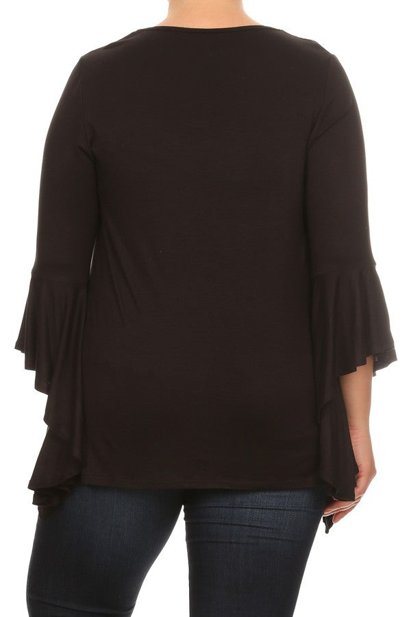 Plus Size Solid Top Long Flutter Sleeves Round Neck - Black
