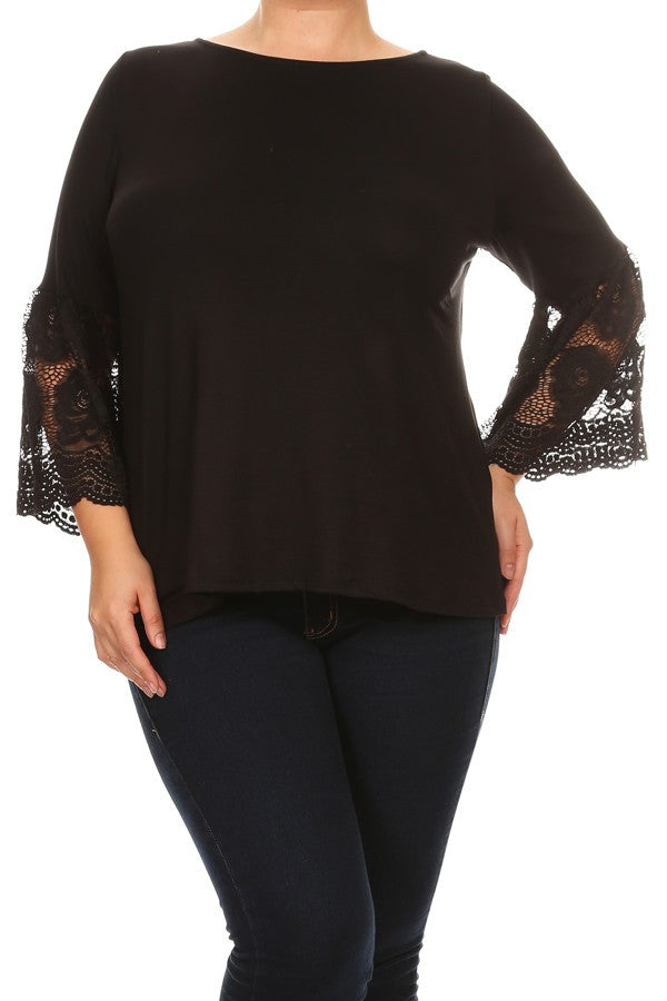 Plus Size Solid Waist Length Long Sleeve Top With Crew Neck - Black